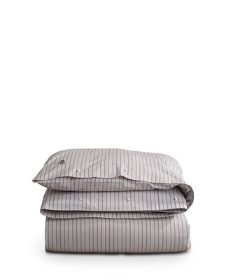 Multi Striped Poplin Duvet, Gray/White/Red Multi Stripe