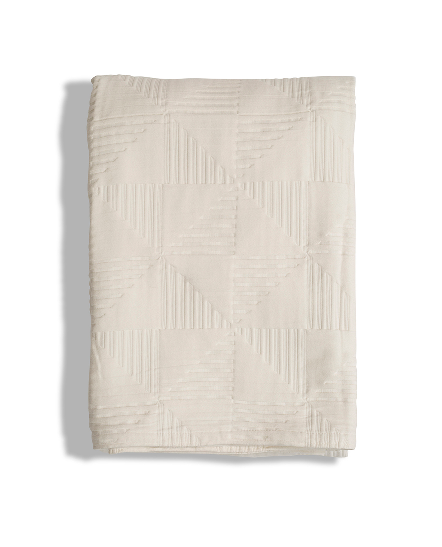 Jacquard Cotton Bedspread, Creme