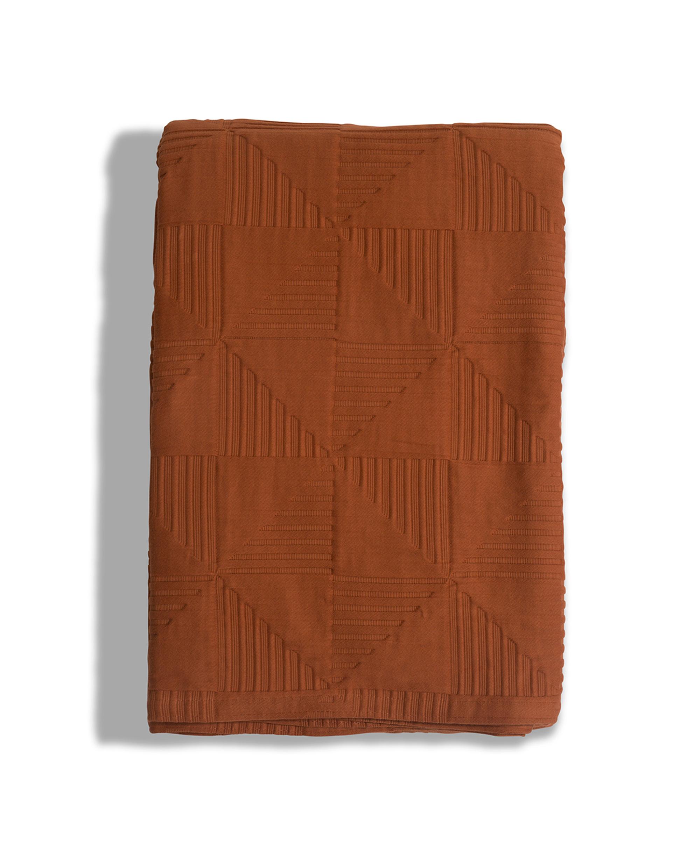 Jacquard Cotton Bedspread, Rust