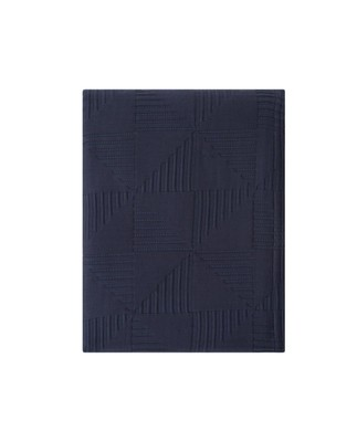 Jacquard Cotton Bedspread, Navy