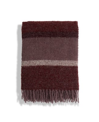 Fall Striped Wool Boucle Throw, Red Stripe