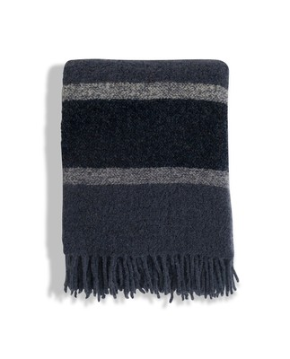 Fall Striped Wool Boucle Throw, Blue Stripe