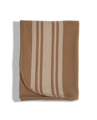 Fall Striped Wool Blanket, Beige