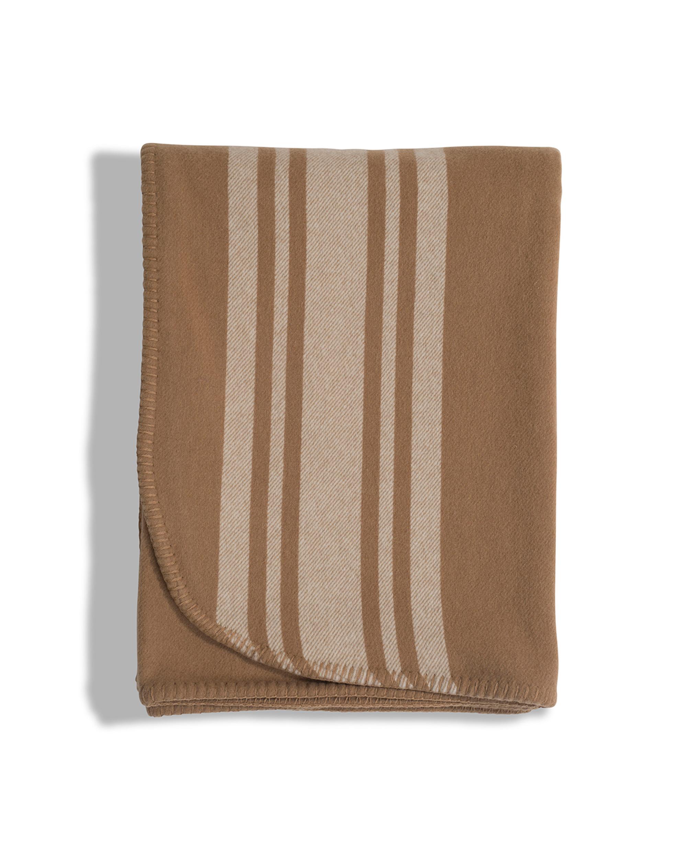 Fall Striped Wool Blanket, Beige
