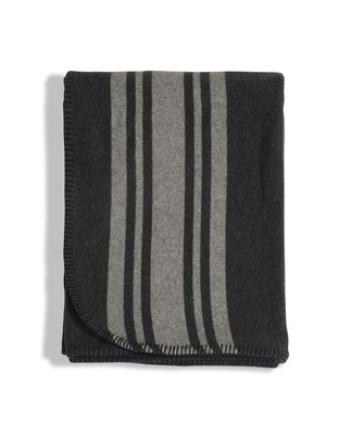 Fall Striped Wool Blanket, Gray