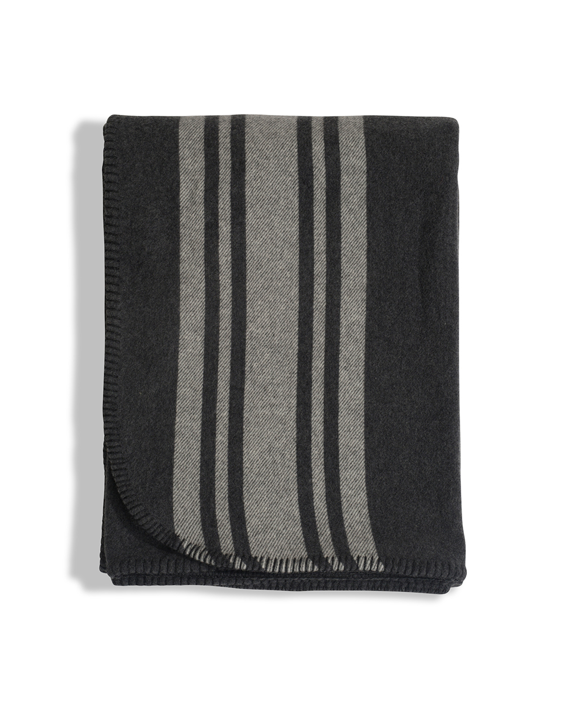 Striped Wool Blanket, Gray