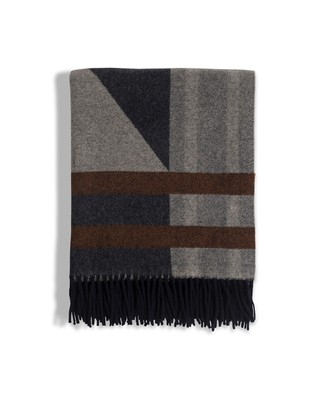 Fall Argyle Wool Throw, Gray