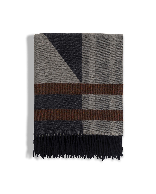 Fall Argyle Wool Throw, Gray