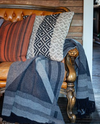 Argyle Wool Throw, Gray