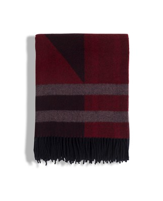 Fall Argyle Wool Throw, Red