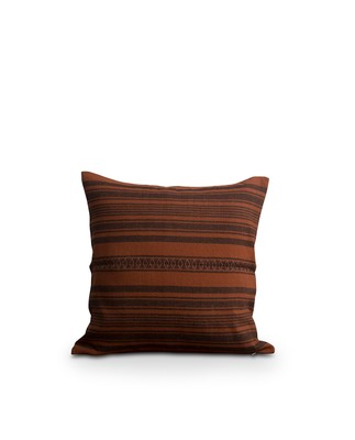 Striped Linen Cotton Sham, Rust