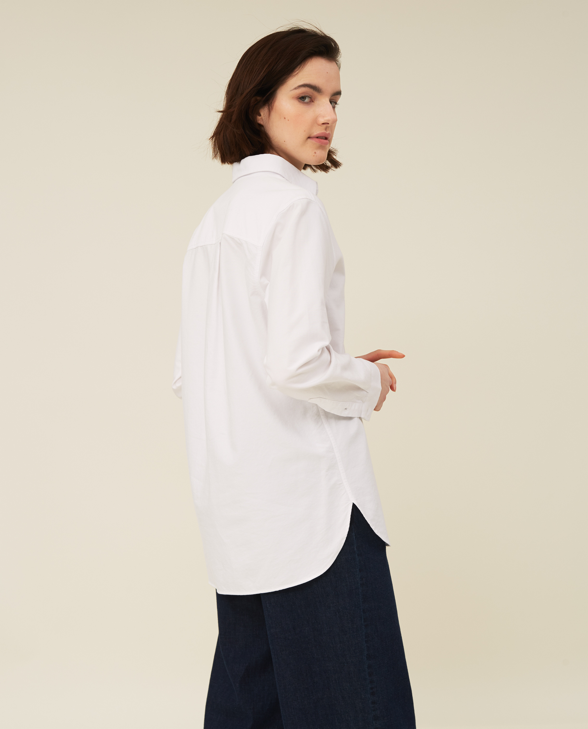 Isa Organic Cotton Oxford Shirt, White