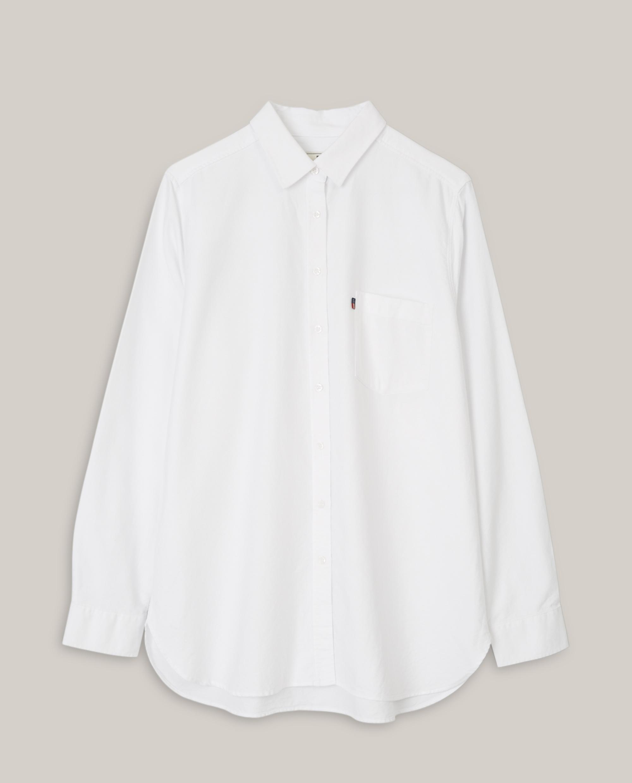 Isa Organic Cotton Oxford Shirt, White