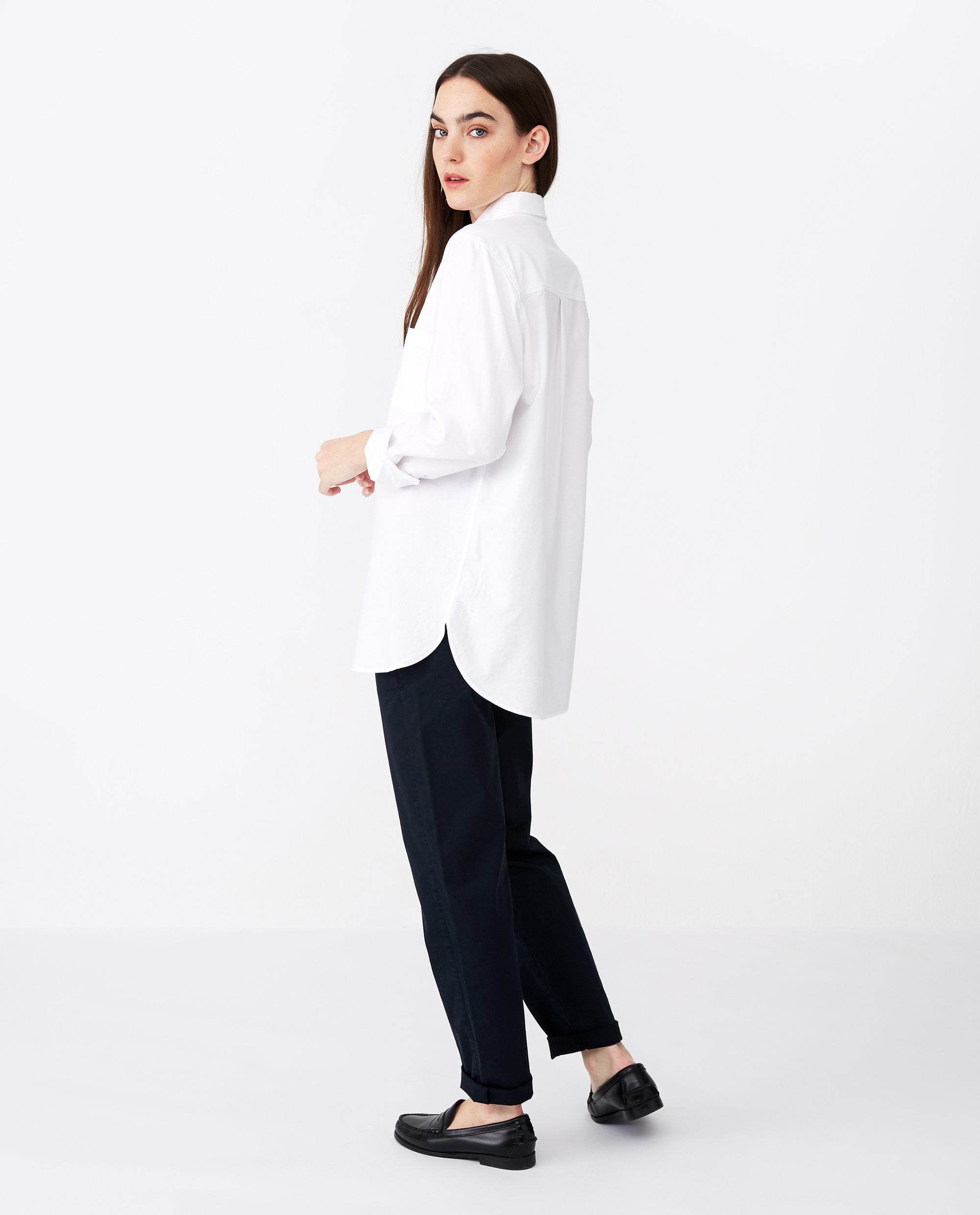 Isa Organic Cotton Oxford Shirt White