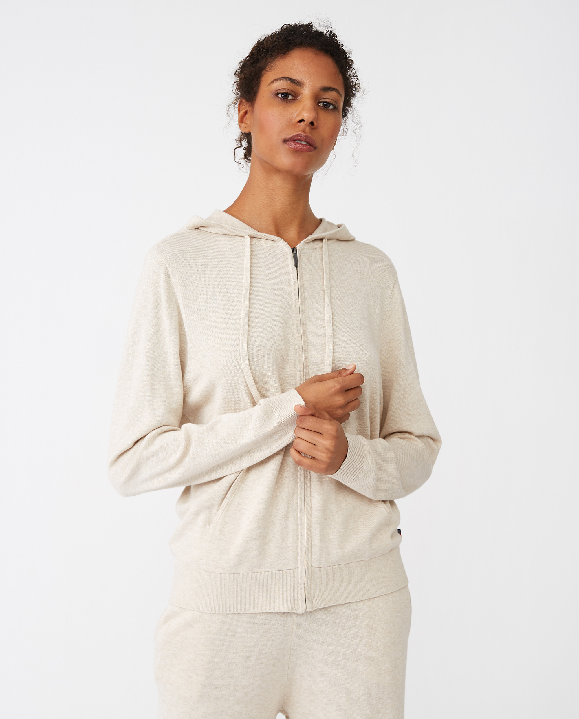 June Cotton/Bamboo Knitted Hoodie, Light Beige Melange