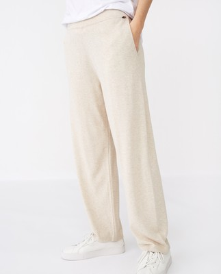 Des Cotton/Bamboo Knitted Pants, Light Beige Melange