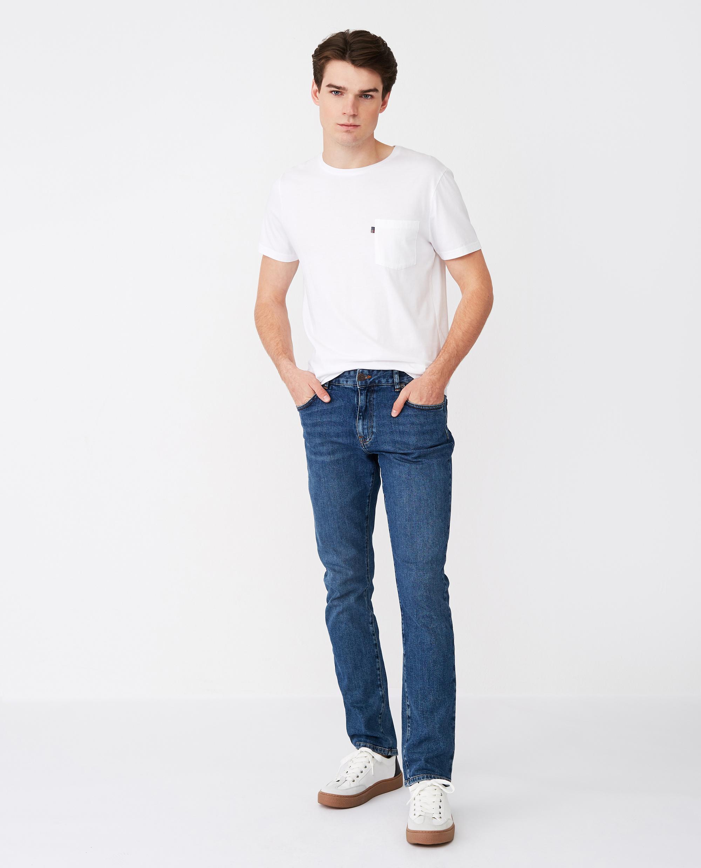 Ray 5-Pocket Jeans, Medium Blue Denim