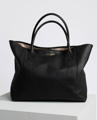 Willow Premium Leather Tote Bag, Black