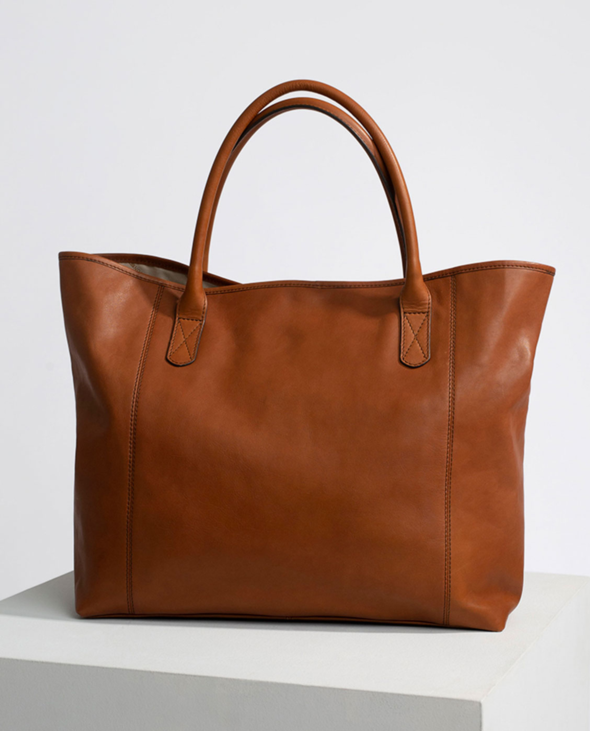 Willow Premium Leather Tote Bag, Brown