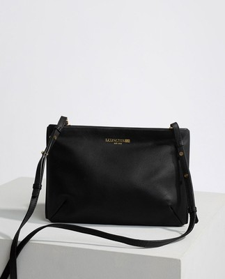 Trudy Premium Leather Zip Bag, Black
