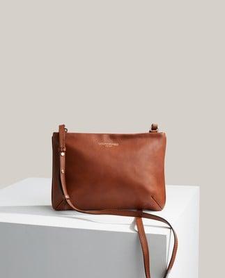 Trudy Premium Leather Zip Bag, Brown