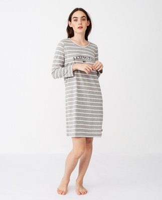 Womens Organic Cotton Nightgown, Gray/White