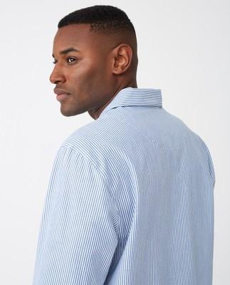 Unisex Organic Cotton Pajama Set, Blue/White