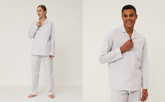 Unisex Organic Cotton Pajama Set, Gray/White