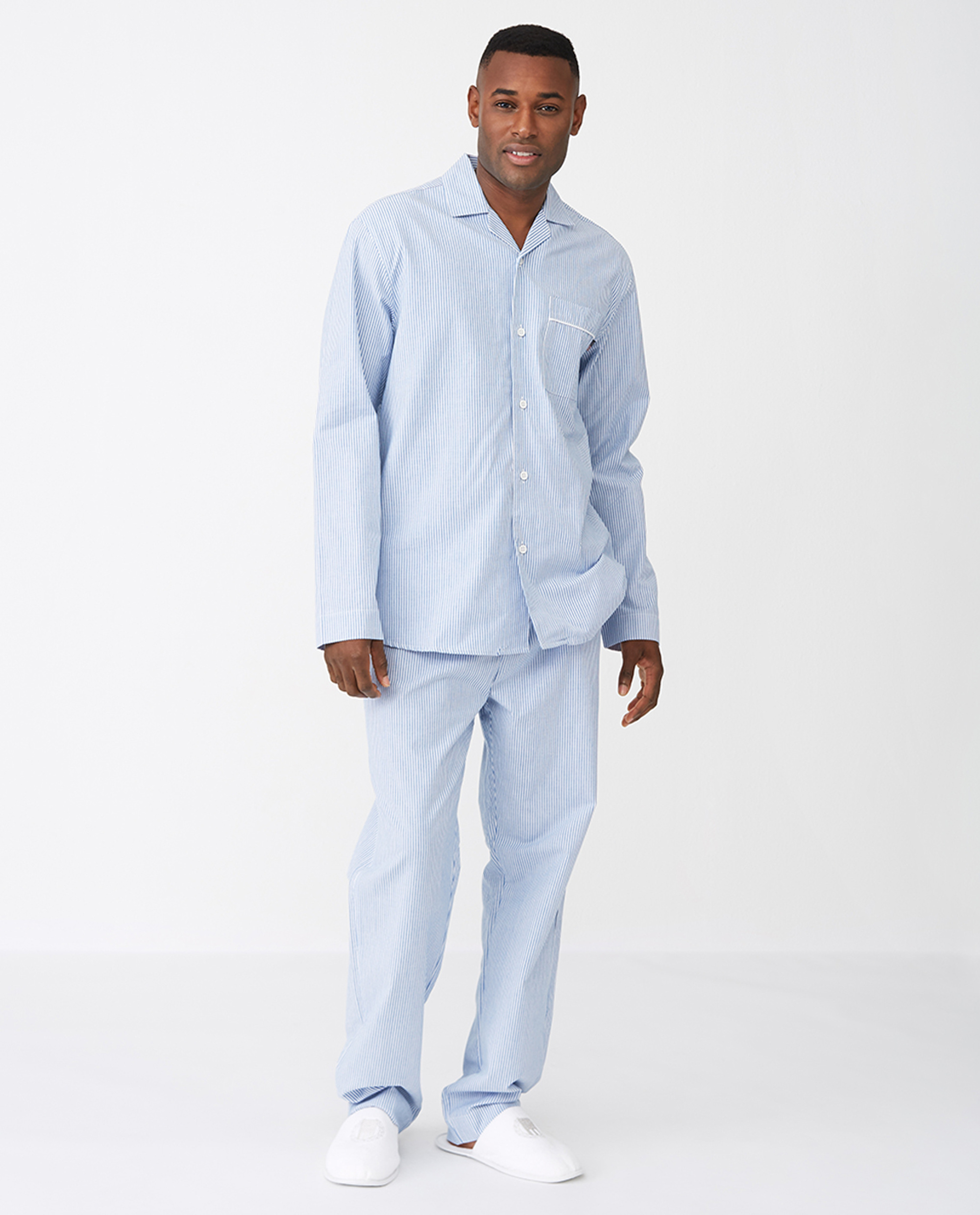 Unisex Organic Cotton Pajama Set, Blue/White