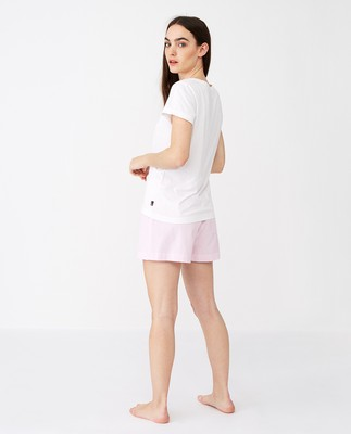 Women´s Organic Cotton Pajama Set, Pink/White