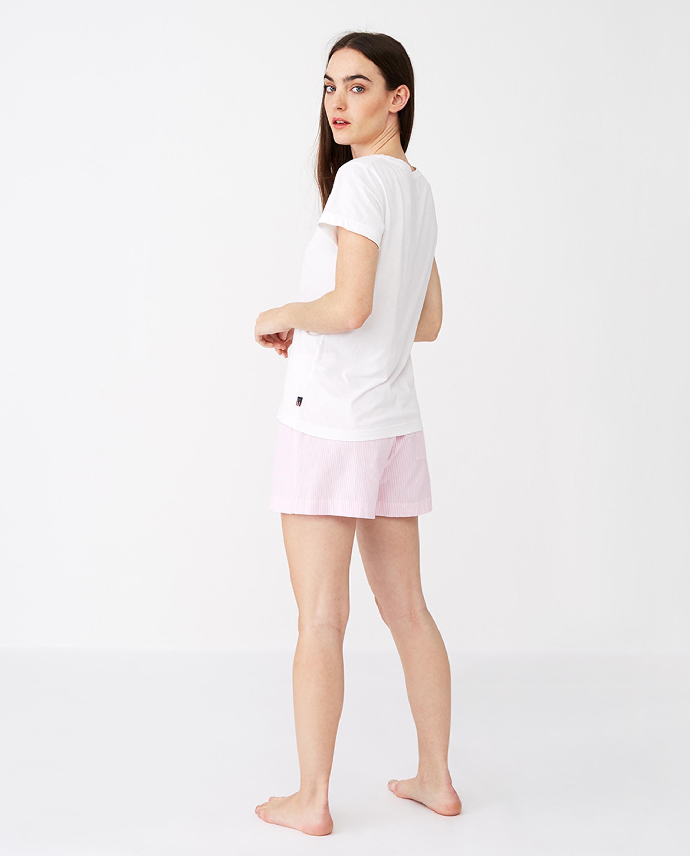 Women´s Organic Cotton Pajama Set, Pink/White