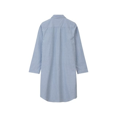 Womens Organic Cotton Nightshirt, Blue/White