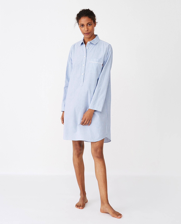 Women's Organic Cotton Nightshirt, Blue/White