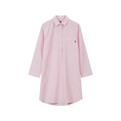 Womens Organic Cotton Nightshirt, Pink/White