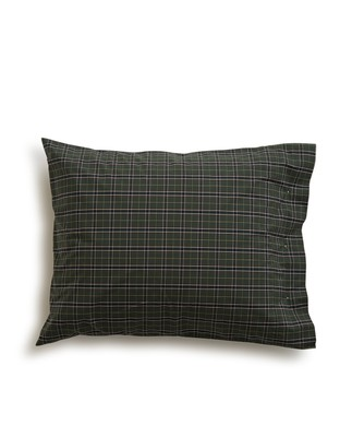 Holiday Checked Poplin Pillowcase, Green