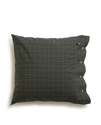 Holiday Checked Poplin Pillowcase, Green