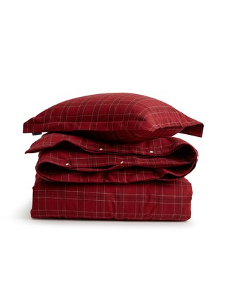 Holiday Checked Flannel Duvet, red
