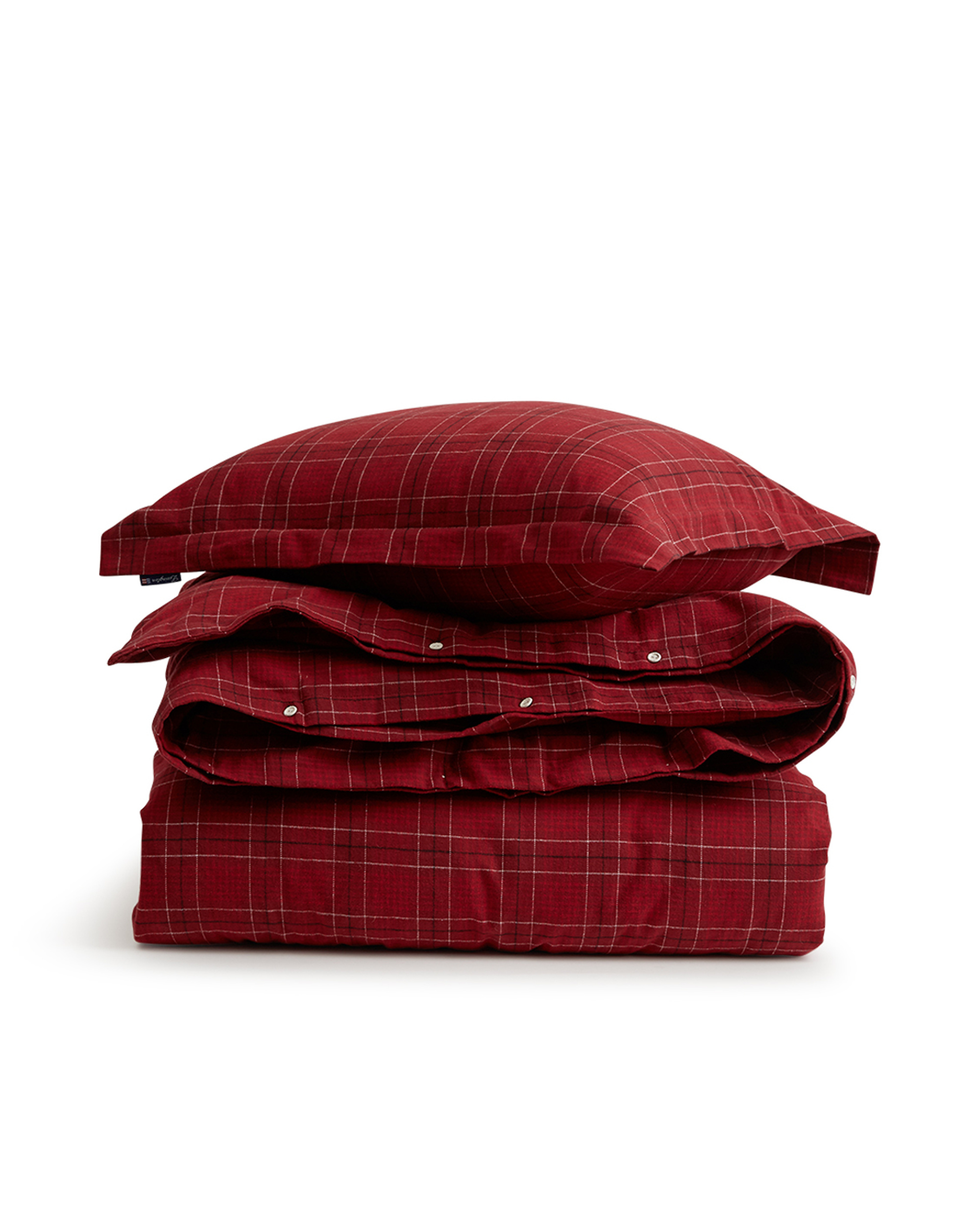 Holiday Checked Flannel Flat Sheet, red
