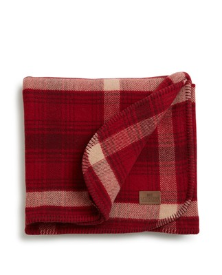 Holiday Checked Wool Blanket, Red/Beige