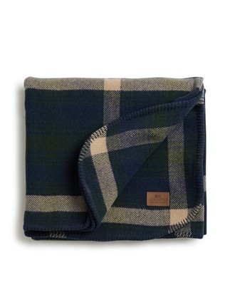 Holiday Checked Wool Blanket, Blue/Green