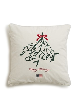 Holiday Mistletoe Velvet Sham, White
