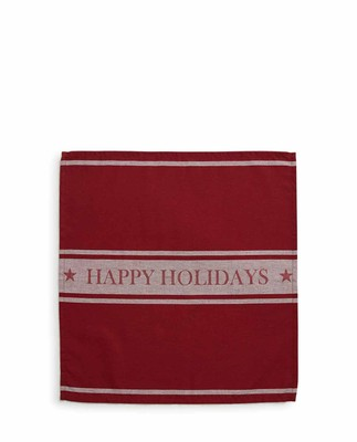 Happy Holidays Napkin, Red/White