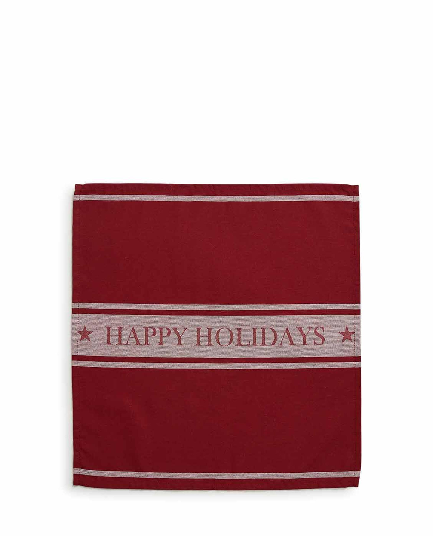 Happy Holidays Napkin, Red/White