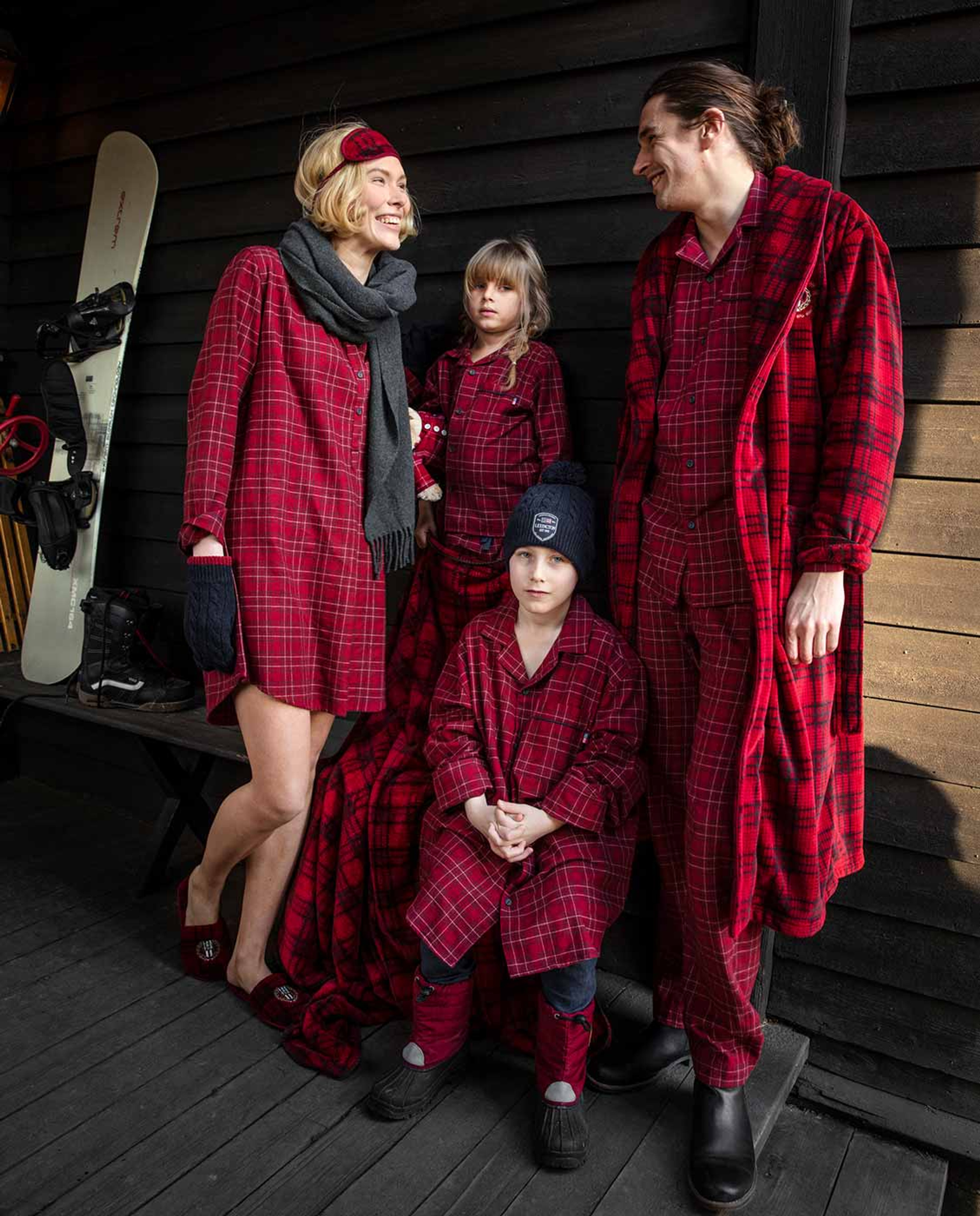 Holiday Unisex Checked Flannel Pajama, Red