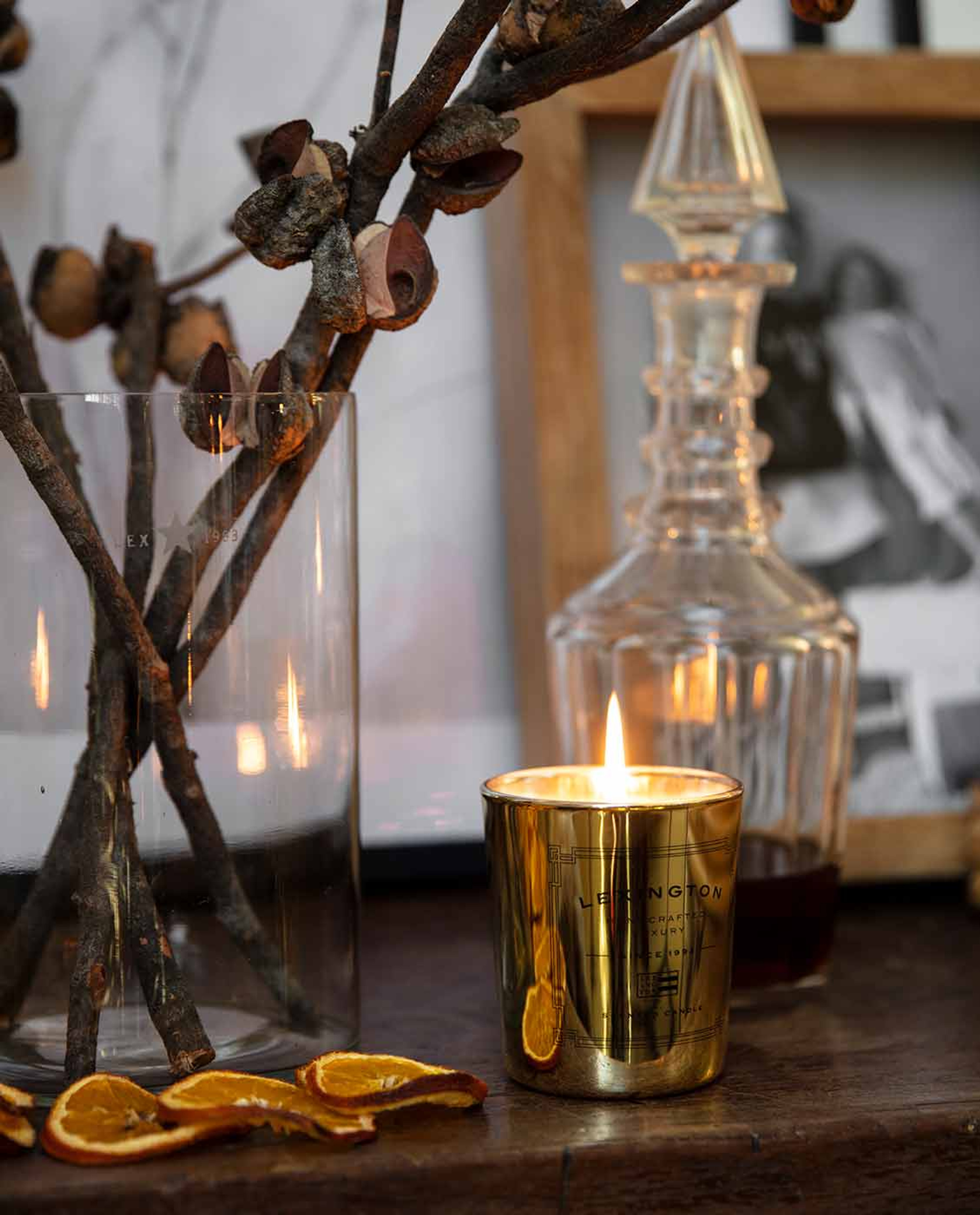 Scented Holiday Candle, Gold/Magic Woods