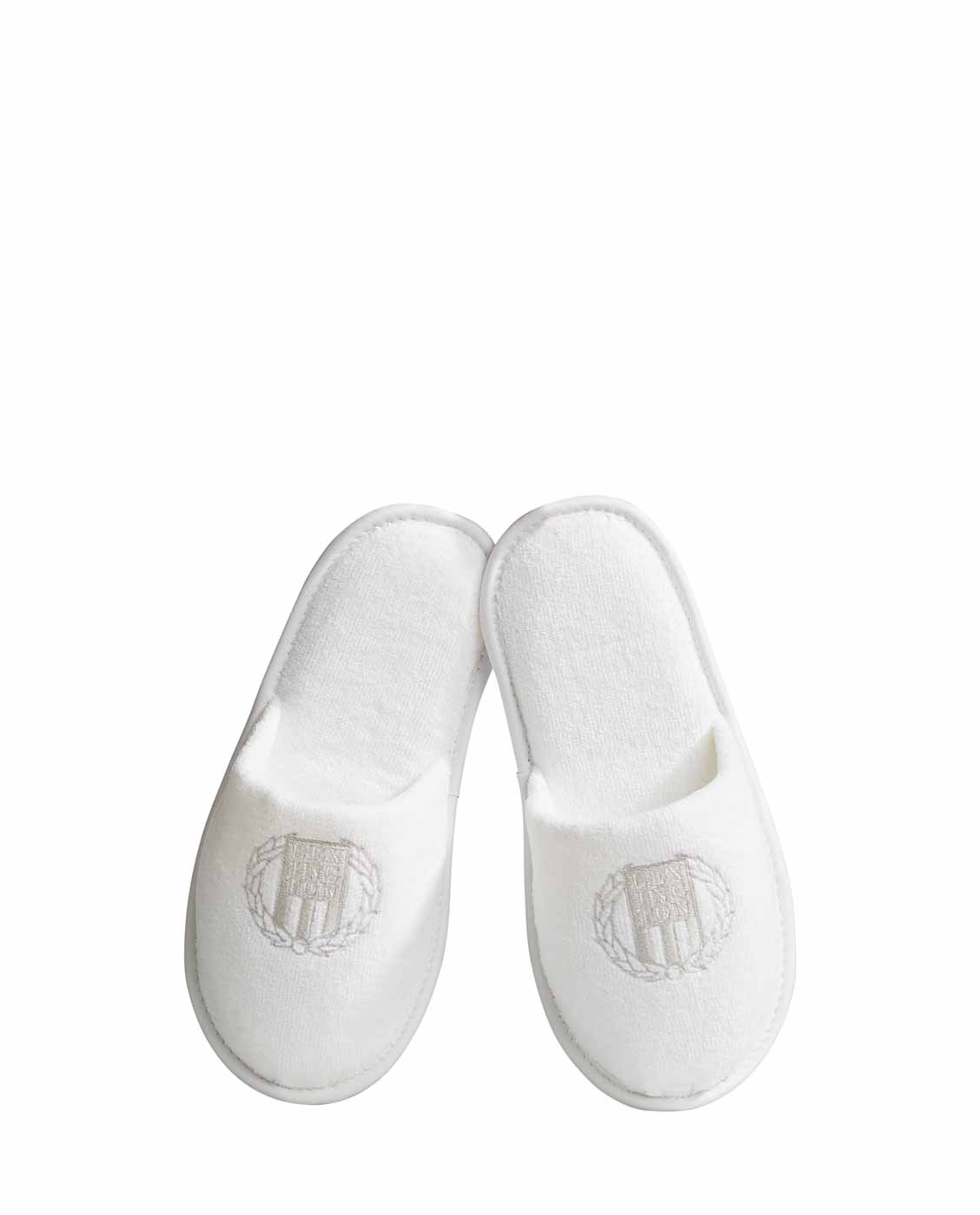 Lexington Hotel Velour Slippers, White