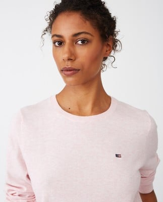 Marline Organic Cotton Sweater, Pink Melange