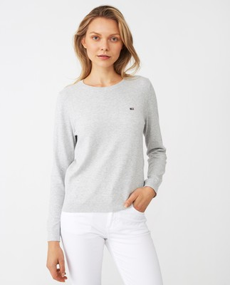 Marline Organic Cotton Sweater, Gray Melange