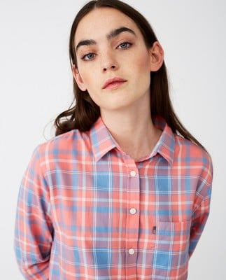 Isa Flannel Shirt, Pink Multi Check