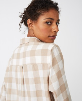 Isa Flannel Shirt, Beige/White Check